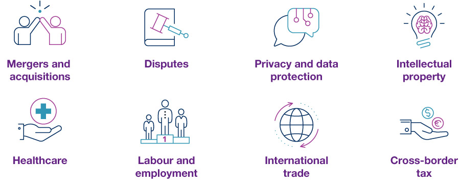 M&A, Disputes, Privacy and data protection, Intellectual property, Healthcare, Labour and employment, International trade, Cross-border tax